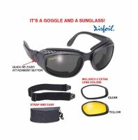 Очки Airfoil Black Convertible Goggle And Sunglass With 3 Removable Polycarbonate Lens With UV 400 P