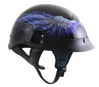 Шлем DOT Outlaw Gloss Black with Blue Feathers Half Helmet