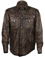 Рубашка Xelement XS-942BR Men's Distressed Brown Leather Shirt with Buffalo Buttons